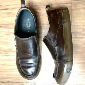 Keen dark brown leather slip-ons, size 10